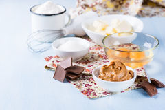 Peanut butter, chocolate chunks, eggs, sugar, flour and butter Royalty Free Stock Photography