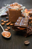 Peanut butter and chocolate close-up Stock Photography