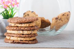 Peanut butter and chocolate overload cookies Stock Images