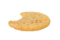Peanut Butter Cookie with Bite Eaten on White. Peanut Butter Cookie with Bite Eaten Isolated on a White Background stock images