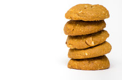 Peanut Butter Cookie. Closeup Peanut Butter Cookie stacked royalty free stock photo