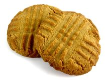 Peanut butter cookie. Isolated on a white background stock images