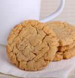 Peanut Butter Cookie Snack. Peanut butter cookies and coffee cup on a napkin stock images