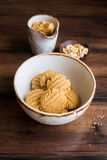 Peanut butter cookies in a bowl Stock Photo