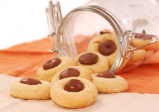 Peanut butter cookies with chocolate Royalty Free Stock Images