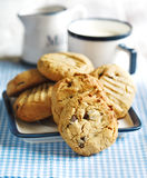 Peanut butter cookies with chocolate chips Stock Photo