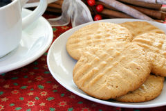 Peanut Butter Cookies and Coffee Stock Photos