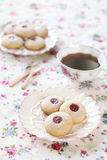 Peanut Butter Cookies with Jam, on light background Royalty Free Stock Photos