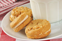 Peanut butter cookies and milk Stock Photos