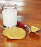 Peanut butter cookies and milk Stock Photography