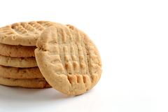 Peanut butter cookies on white background. Fresh baked peanut butter cookies on white background shot in natural light with shallow depth of field.  Room for Stock Photo