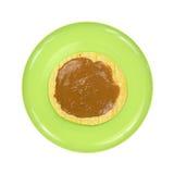 Peanut butter on corn tortilla Stock Photo