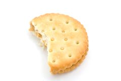 Peanut Butter Cracker. A photo of a peanut butter cracker over a white background Royalty Free Stock Photos