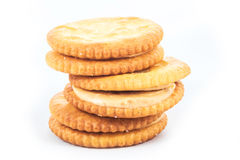 Peanut butter cream and biscuit in white background Stock Photos