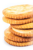 Peanut butter cream and biscuit in white background Royalty Free Stock Photo