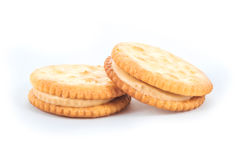 Peanut butter cream and biscuit in white background Stock Photography