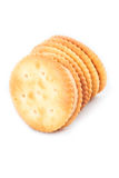 Peanut butter cream and biscuit in white background Royalty Free Stock Images