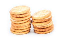 Peanut butter cream and biscuit in white background Stock Image