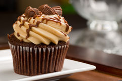 Peanut Butter Cupcake on Wood Royalty Free Stock Photos