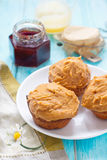 Peanut butter cupcakes. With berries jam Royalty Free Stock Photo