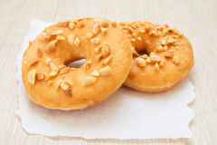Peanut butter donuts on paper Royalty Free Stock Photography