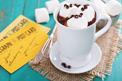 Peanut butter hot chocolate with marshmallows Royalty Free Stock Photo