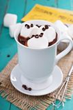Peanut butter hot chocolate with marshmallows Stock Photos