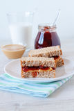 Peanut butter and jam sandwich Stock Photo