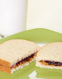 Peanut Butter And Jam Sandwich With Milk Royalty Free Stock Photo