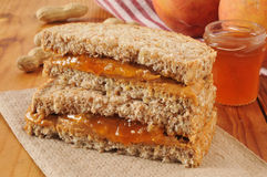 Peanut butter and jam sandwich Royalty Free Stock Photography