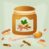 Peanut butter in jar on background Royalty Free Stock Photos