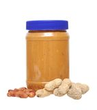 Peanut butter jar. Isolated on white stock photo