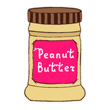 Peanut butter jar. Sketch illustration with hand drawn letters. Royalty Free Stock Images