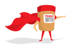 Peanut butter jar super hero with cape Stock Image