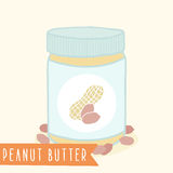 Peanut butter in jar. Vector hand drawn illustration Royalty Free Stock Photos