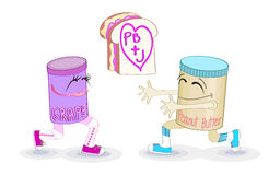 Peanut butter and jelly. Eye-catching vector illustration ot the classic American kids afternoon snack food, as fun and in love cartoon characters.  EPS 8 Royalty Free Stock Photography
