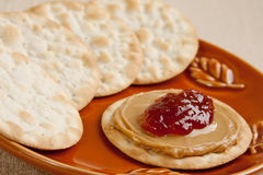 Peanut butter jelly cracker Royalty Free Stock Photo