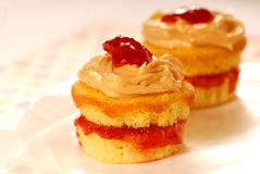 Peanut butter and jelly cupcakes Royalty Free Stock Images