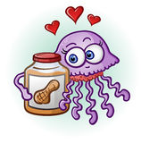 Peanut Butter and Jelly Fish Cartoon Character. A cute purple jelly fish in love with a jar of creamy peanut butter Stock Photos