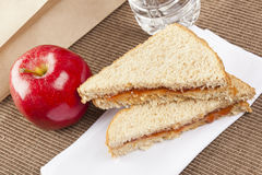Peanut Butter and Jelly Sack Lunch Stock Photo
