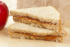 Peanut Butter and Jelly Sack Lunch Stock Image