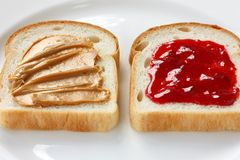 Peanut butter & jelly sandwich royalty free stock photos