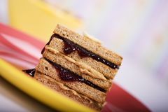 Peanut Butter and Jelly Sandwich. On toast stock photo