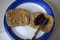 Open Faced PB & J Sandwich Royalty Free Stock Photo