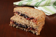 Peanut butter jelly sandwich Royalty Free Stock Images