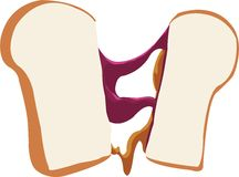 Peanut Butter Jelly Sandwich Stock Photo