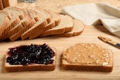 Peanut butter jelly sandwich Stock Image