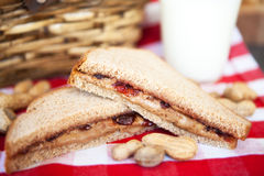 Peanut Butter and Jelly Sandwich Picnic Royalty Free Stock Photos