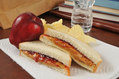 Peanut butter and jelly sandwich in a sack lunch Stock Photography