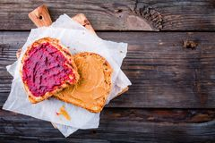 Peanut butter and jelly toast Royalty Free Stock Photography